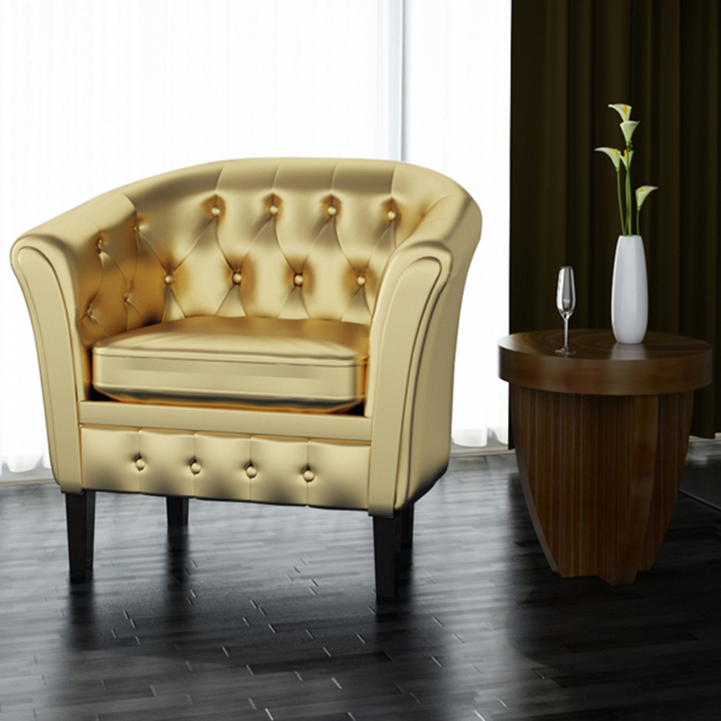 Picture of Living Room Armchair Tub Chair Artificial Leather - Gold