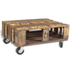 Picture of Living Room Coffee Table with Wheels - Antique-Style Reclaimed Wood