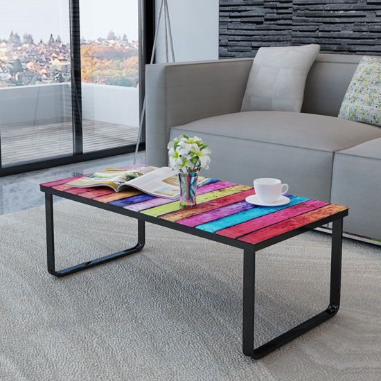 Picture of Living Room Rainbow Printing Glass Coffee Table