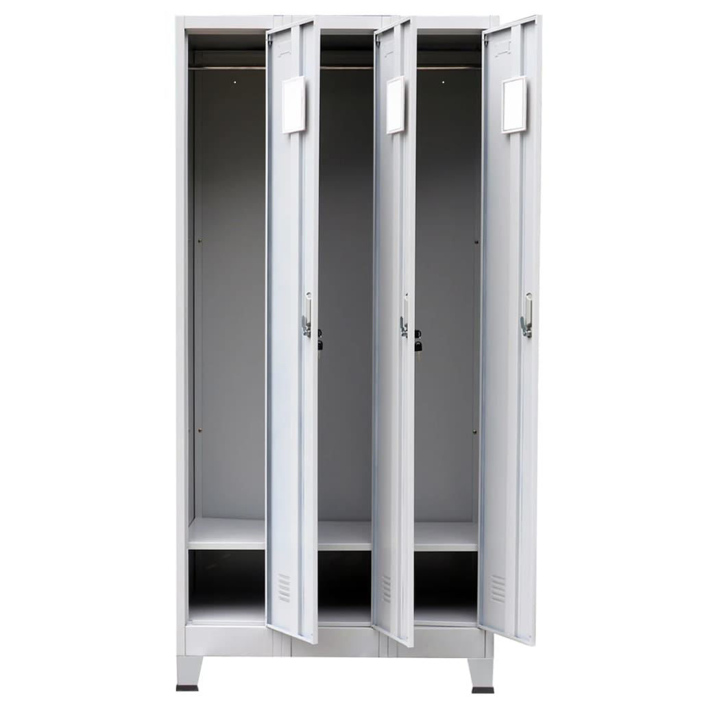 """Picture of Locker Cabinet Storage with 3 Compartments Steel 35"""""""