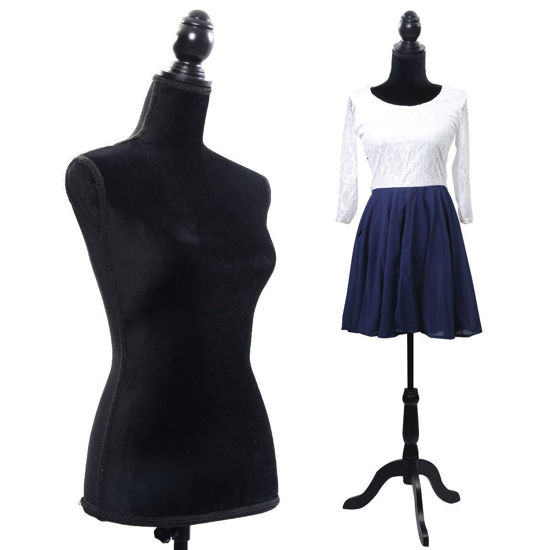 Picture of Mannequin Torso Dress Form Display With Black Tripod Stand Female