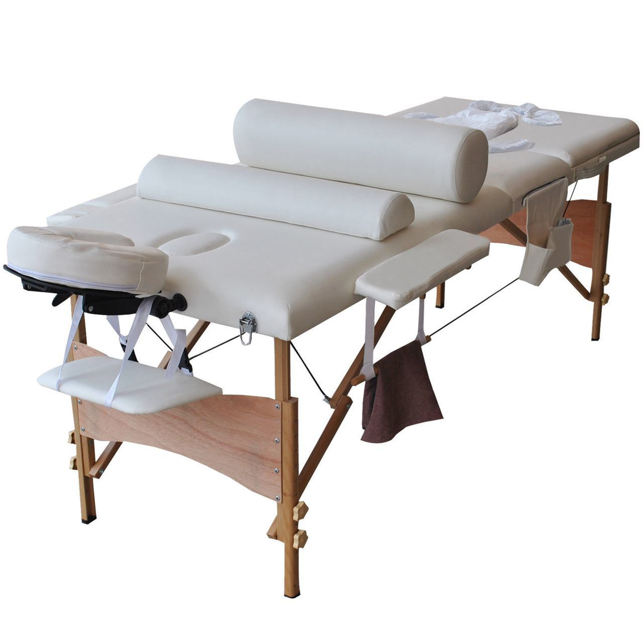 """Picture of Massage Table Portable Facial Bed with Sheet, Cradle, Cover and Bolsters 3 Fold 84""""L White"""