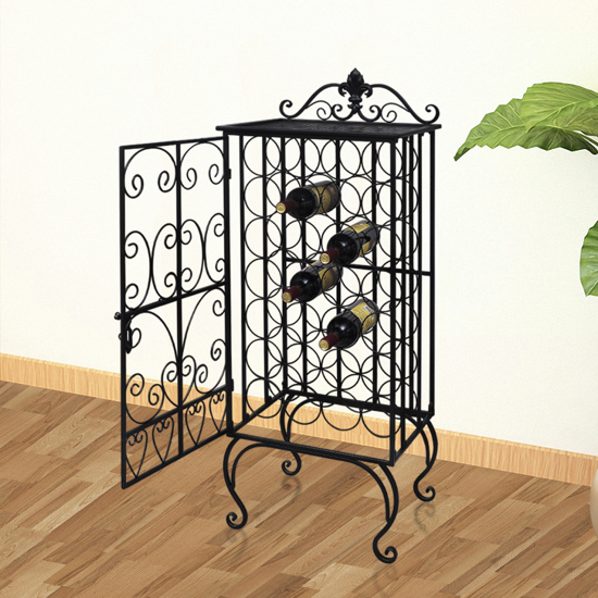 Picture of Metal Wine Cabinet Rack Wine Stand for 28 Bottles