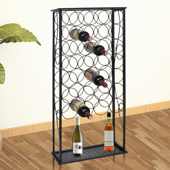 Picture of Metal Wine Rack Wine Stand for 28 Bottles