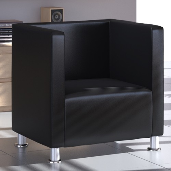 Picture of Modern Tub Design Armchair Artificial Leather Club - Black