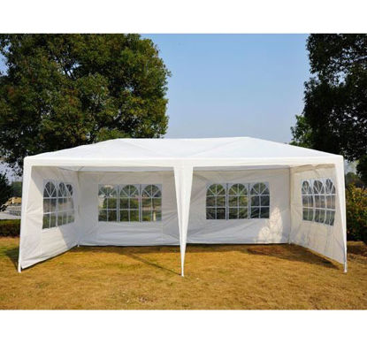 Picture of Outdoor 10' x 20' Gazebo Canopy Tent White with 4 Removable Window Side Walls