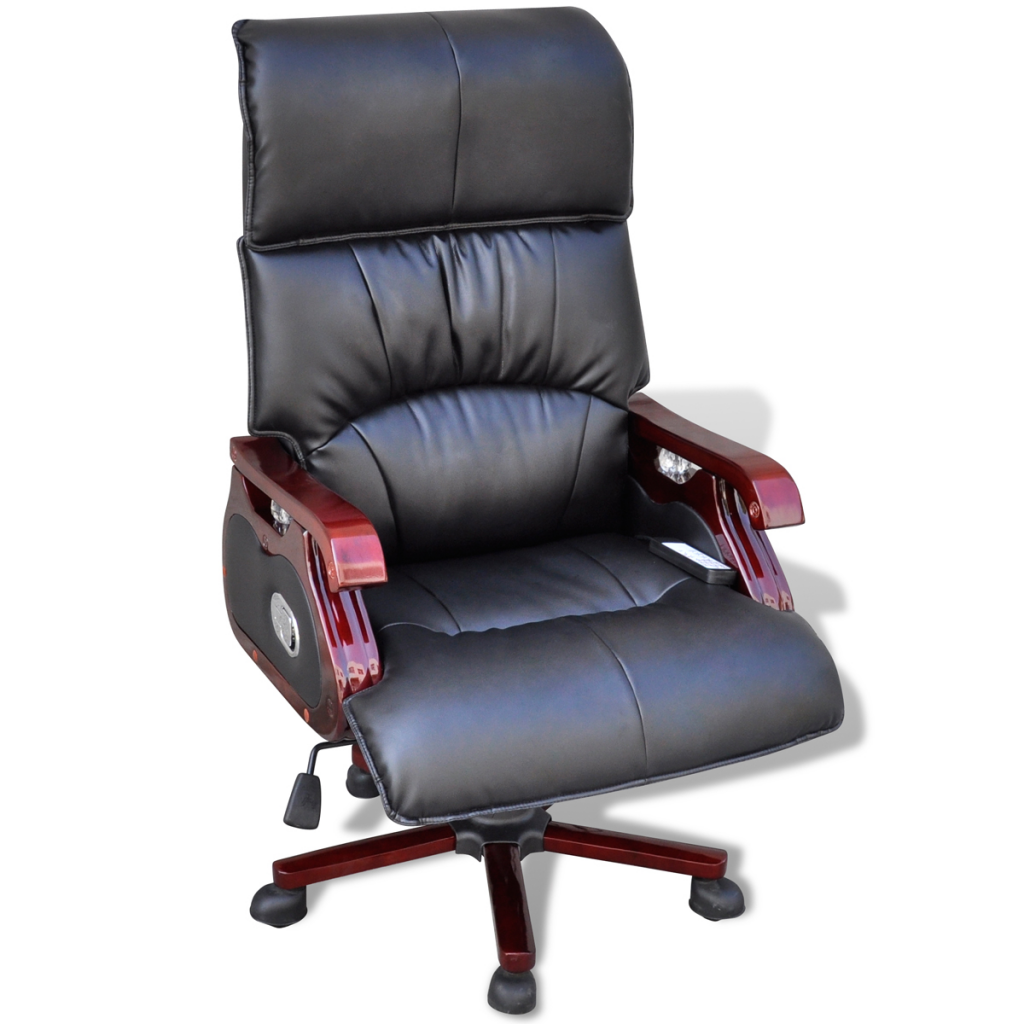 Picture of Office Massage Office Chair Real Leather - Black