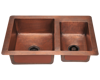 Picture of Offset Double Bowl Copper Sink