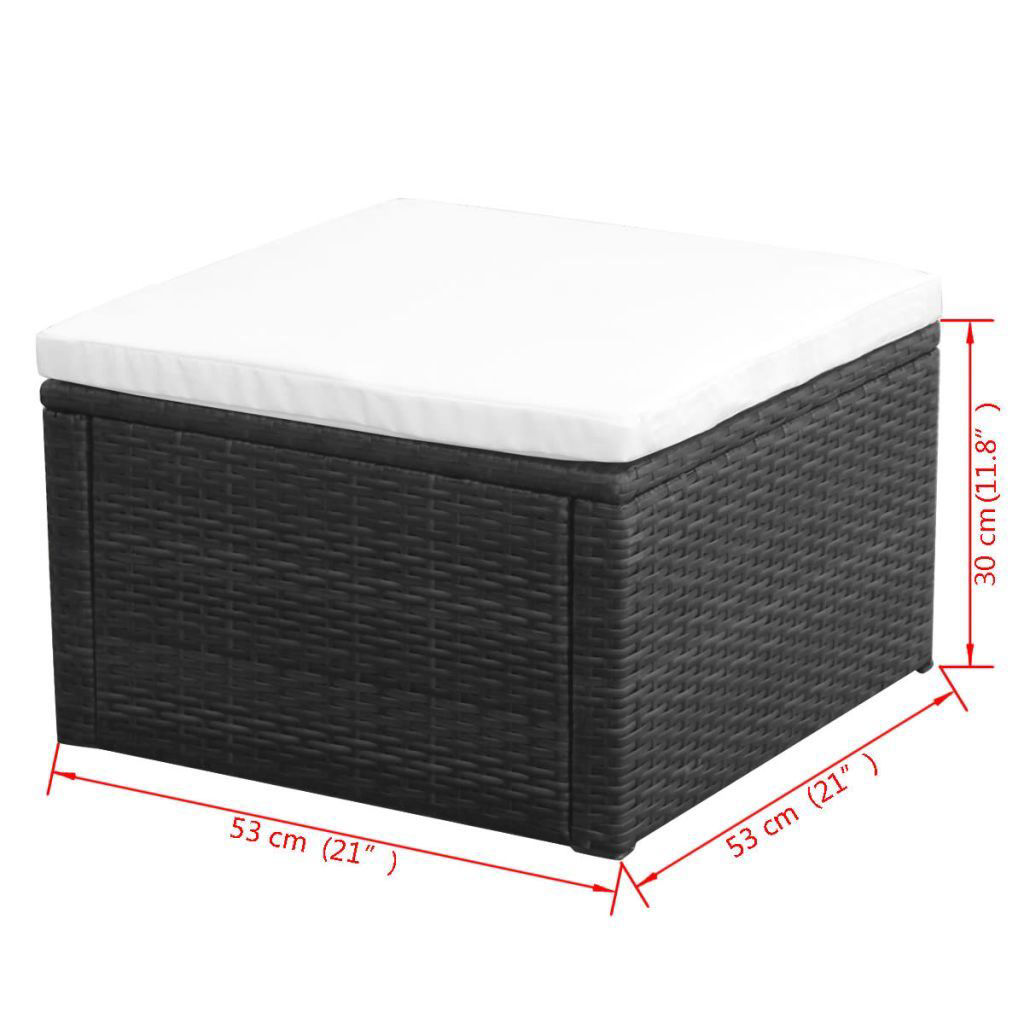 """Picture of Ottoman Footstool 21"""" - Poly Rattan - Black"""