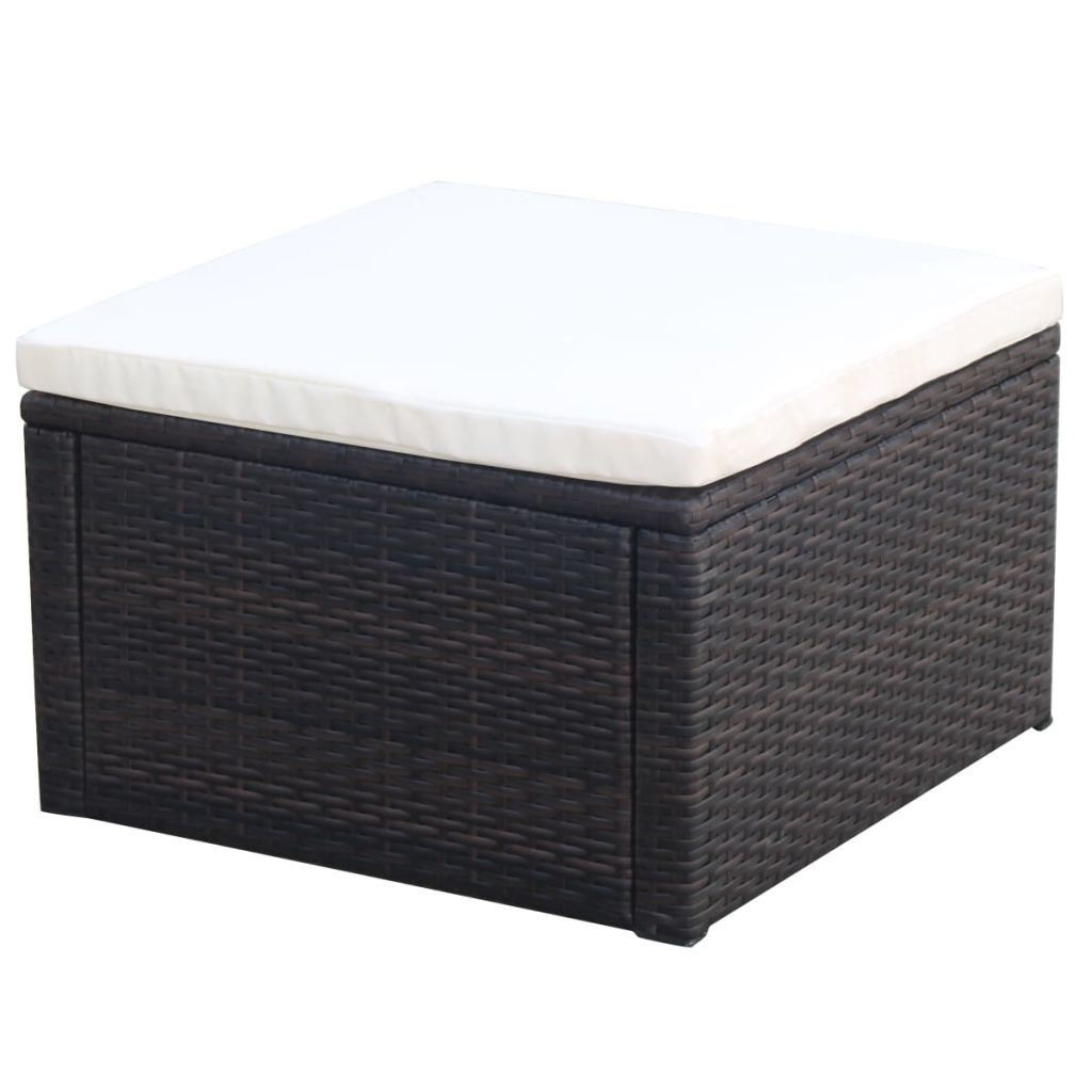 "Picture of Ottoman Footstool 21"" - Poly Rattan - Brown"
