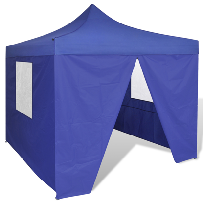 Picture of Outdoor 10' x 10' Foldable Canopy Gazebo Tent with 4 Walls - Blue