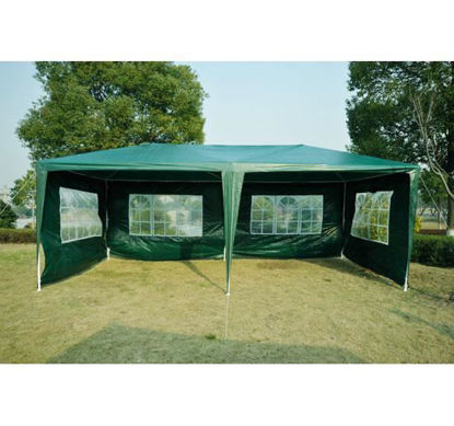 Picture of Outdoor 10' x 20' Gazebo Canopy Tent with 4 Removable Side Walls - Green