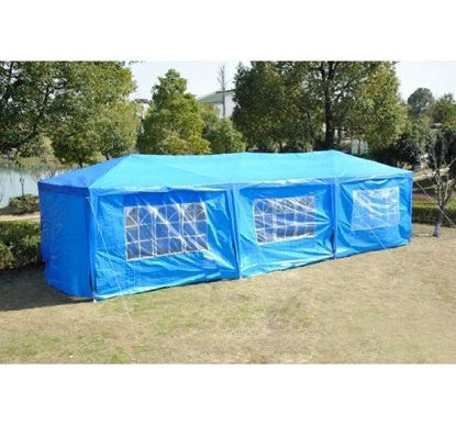 Picture of Outdoor 10' x 30' Gazebo Canopy Tent Blue with Removable Side Walls