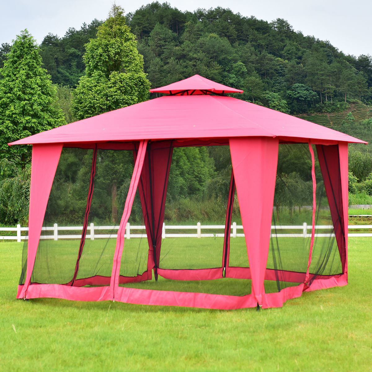 Picture of Outdoor 11'x11' Patio Canopy Tent Gazebo 2-Tier Burgundy
