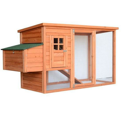 "Picture of Outdoor 64"" Deluxe Wooden Chicken Coop / Hen House with Run"
