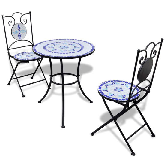 """Picture of Outdoor Bistro Table 23"""" with 2 Chairs - Mosaic - Blue and White"""