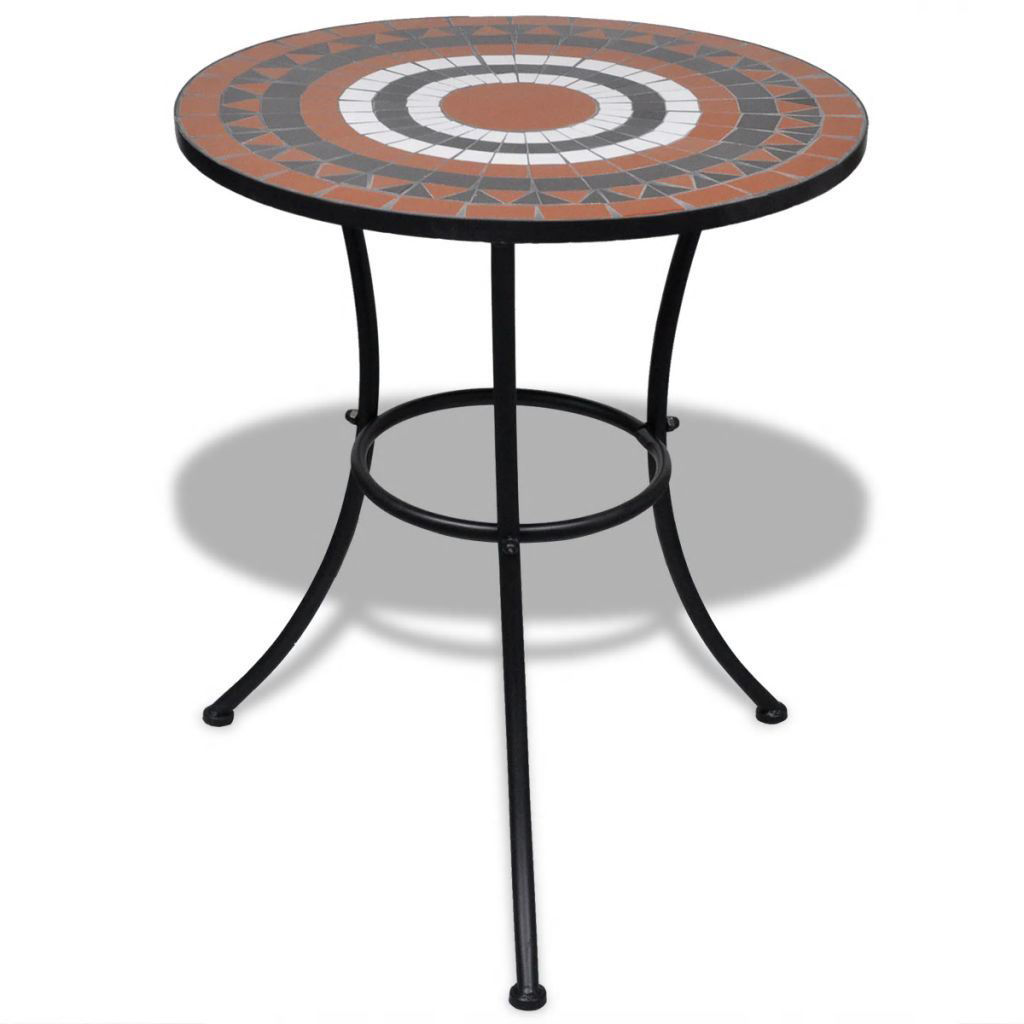 """Picture of Outdoor Bistro Table 23"""" with 2 Chairs - Mosaic - Terracotta and White"""