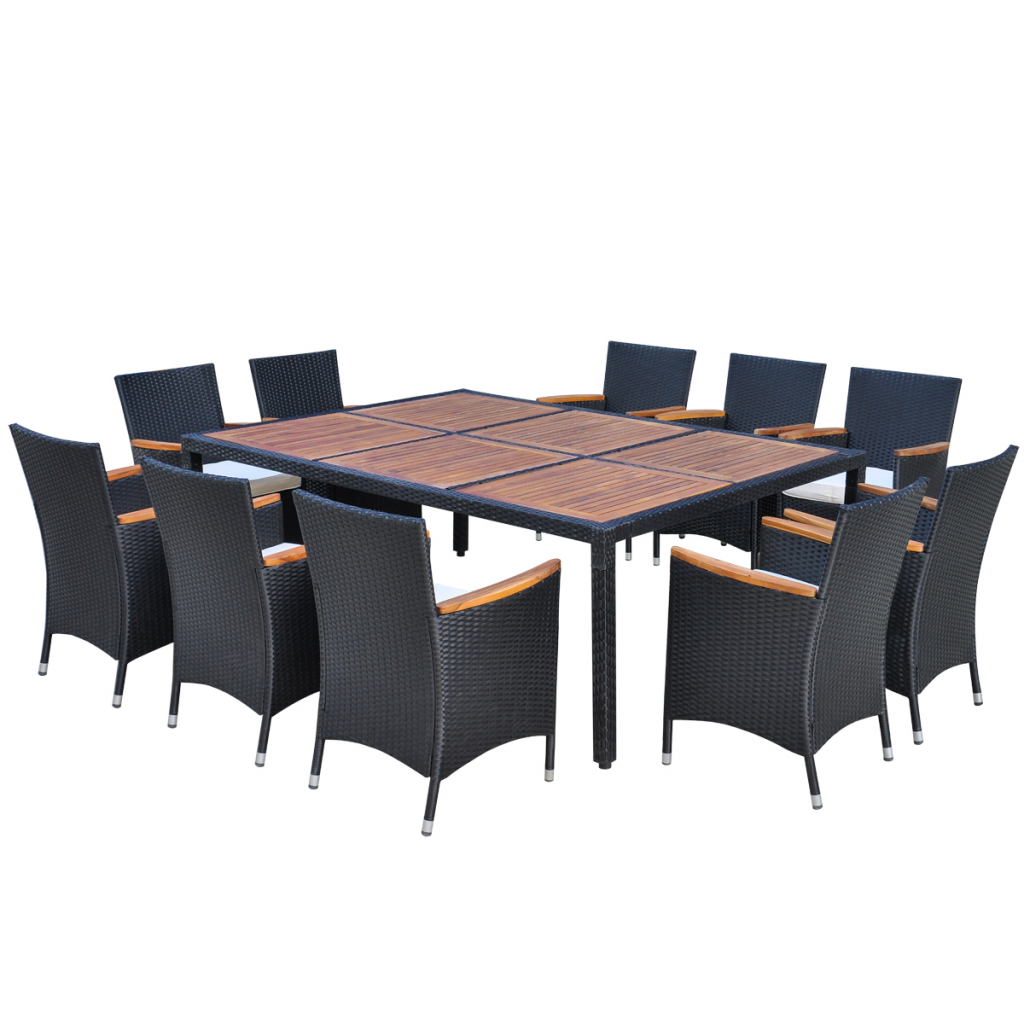 Picture of Outdoor Dining Set Poly Rattan - 11 pcs Black