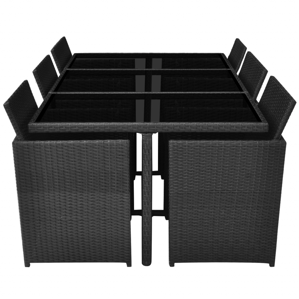 Picture of Outdoor Dining Set Poly Rattan - 27 Pcs Black