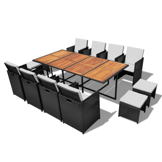 Picture of Outdoor Dining Set Poly Rattan - Acacia Wood  Black 33 pcs