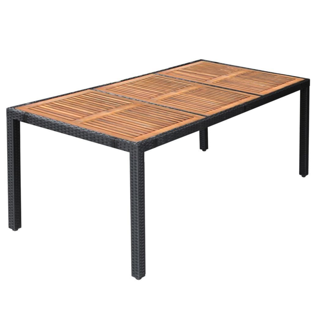 Picture of Outdoor Dining Set XXL - Poly Rattan Acacia Wood - Black