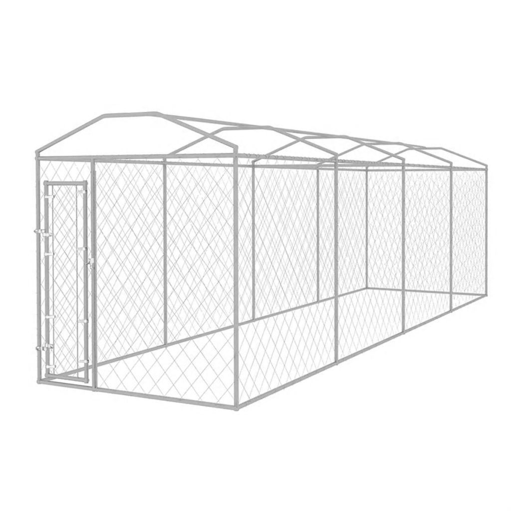 Picture of Outdoor Dog Kennel with Roof 25x6