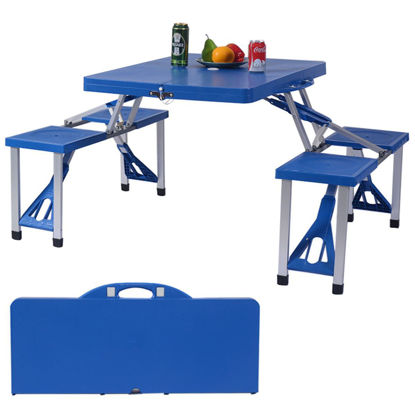 Picture of Outdoor Foldable Picnic Table with Bench
