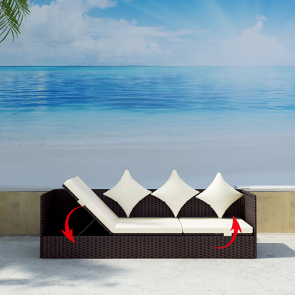 Picture of Outdoor Furniture 3-Seat Convertible Sun Bed with Cushion & Pillow - Brown