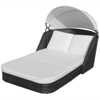 Picture of Outdoor Furniture Double Seater Bed Sun Lounger with Canopy Poly Rattan - Black