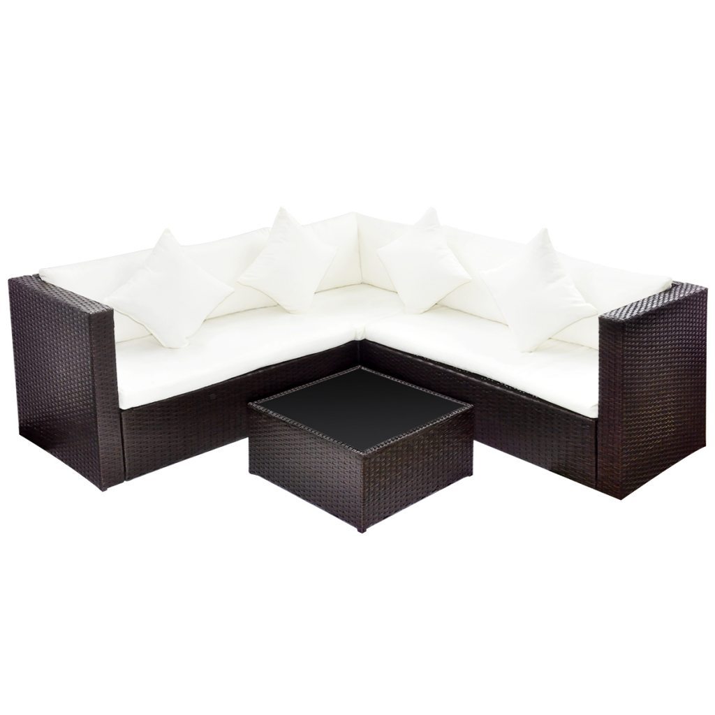 Picture of Outdoor Furniture Set Lounge with 2-Seat Sofa Poly Rattan - Brown