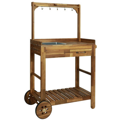 Picture of Outdoor Garden Kitchen Trolley - Solid Acacia Wood
