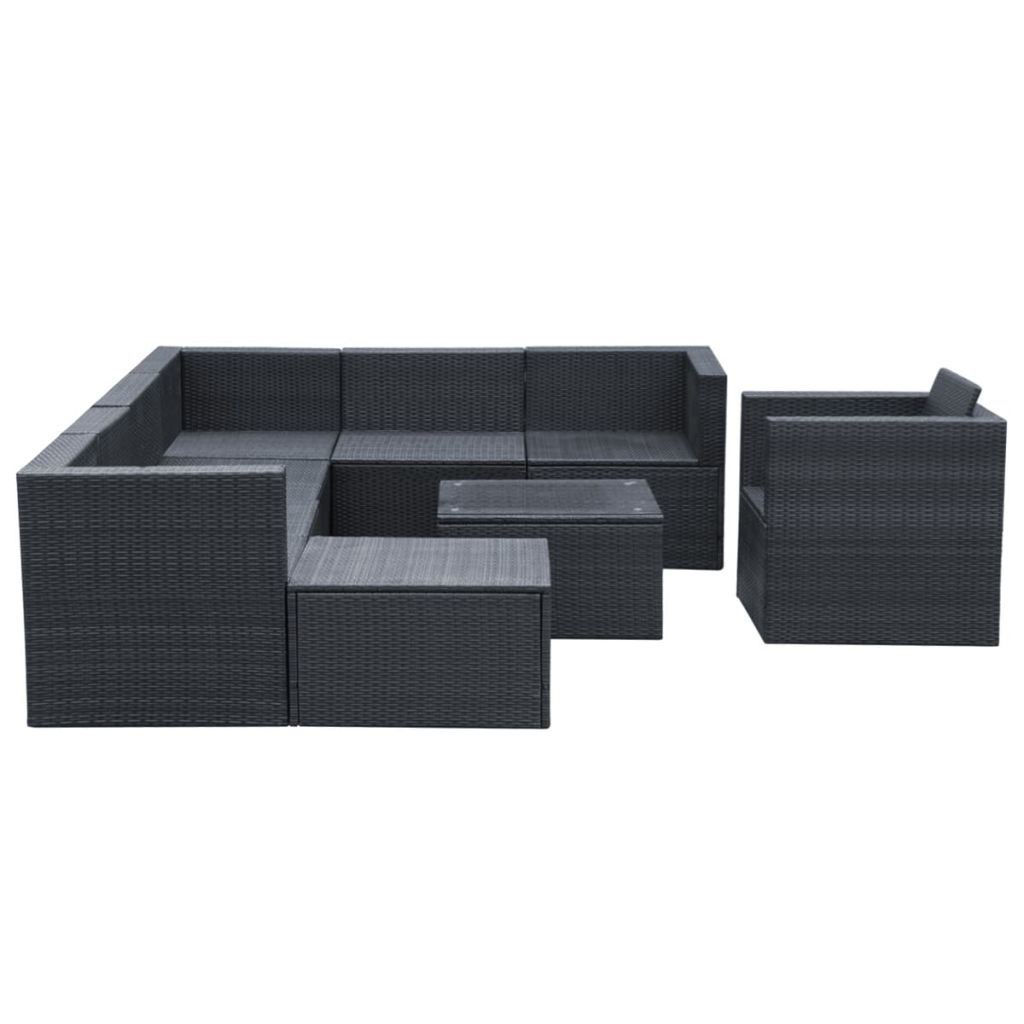 Picture of Outdoor Garden Lounge Set - Poly Rattan - Black