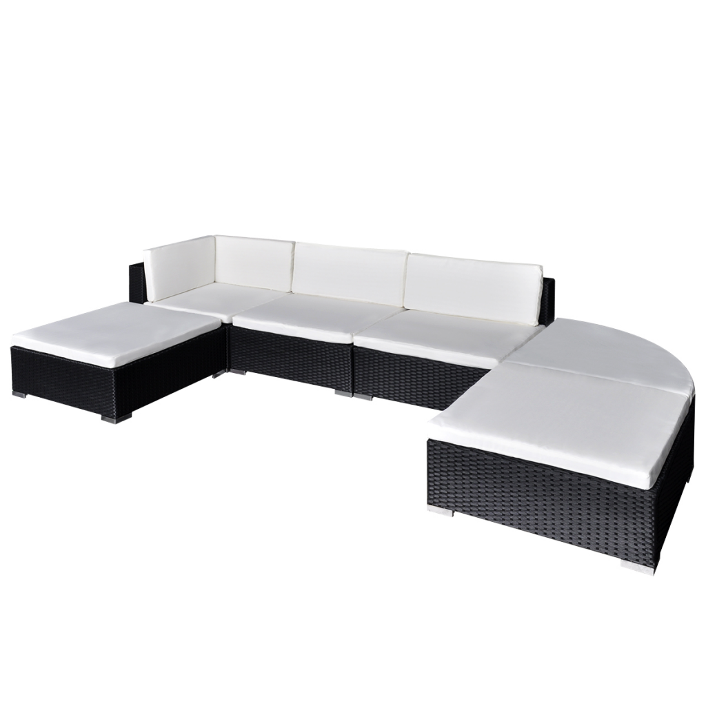 Picture of Outdoor Garden Lounge Set Poly Rattan - Black 16 Piece