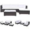 Picture of Outdoor Garden Sofa Set Brown Poly Rattan - 14 Piece