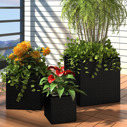Picture of Outdoor Garden Square Rattan Planter Set 3 pcs - Black