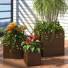Picture of Outdoor Garden Square Rattan Planter Set 3 pcs - Brown
