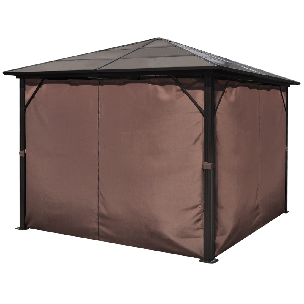 Picture of Outdoor Gazebo with Brown Curtain Aluminum 10' x 10' Weather-resistant