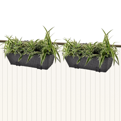 "Picture of Outdoor Hanging Rattan Planter Set 20""- 2 pcs Black"