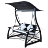 Picture of Outdoor Hanging Swing Chair with Roof Glider Hammock Chair Rattan Wicker - Black