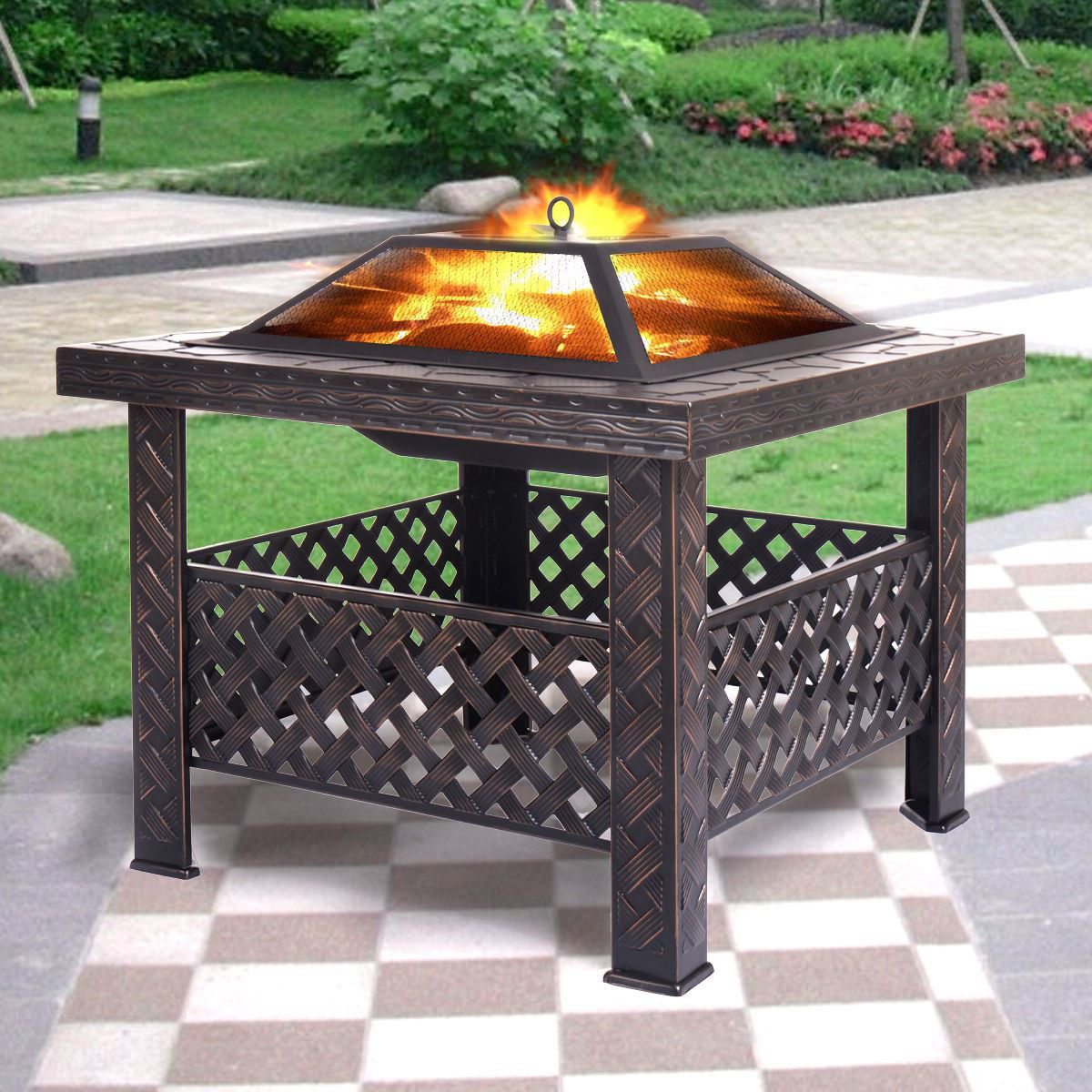 "Picture of Outdoor Patio 26"" Metal Firepit Square Stove Fire Pit Brazier"