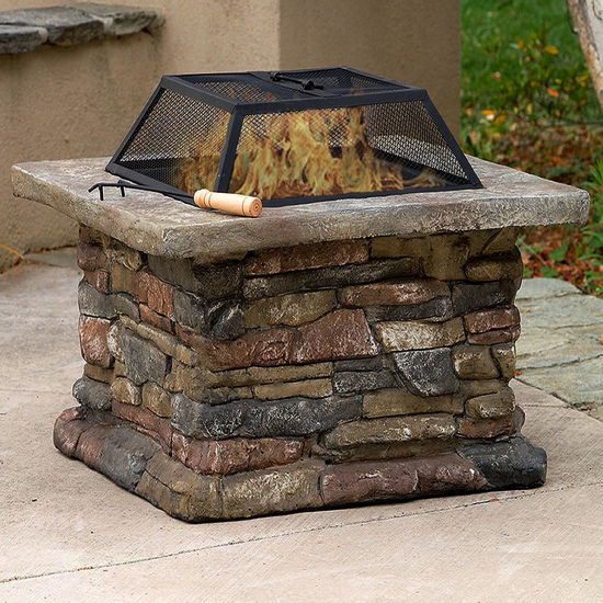 """Picture of Outdoor Patio Firepit with Matte Steel Fire Bowl, Stone Base 29"""""""