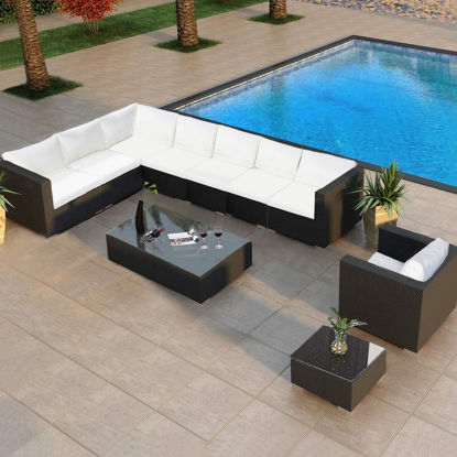 Picture of Outdoor Patio Furniture Set - 10 Pcs Brown