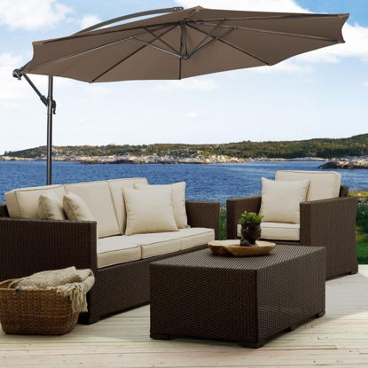 Picture of Outdoor Patio Hanging Umbrella Sun Shade With Cross Base Tan 10'
