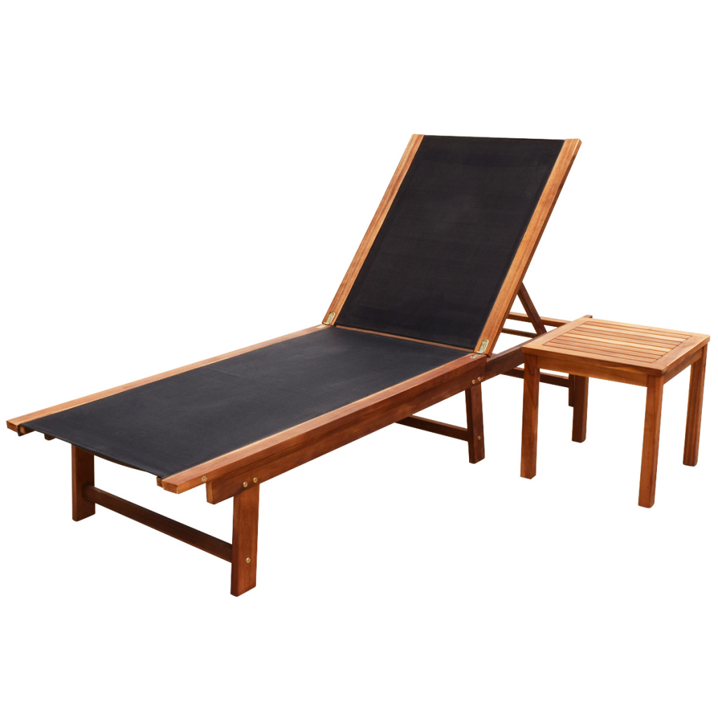 Picture of Outdoor Recliner Chaise Chair Sun Lounger with Table - Black
