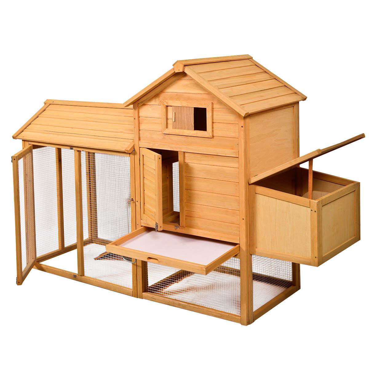 """Picture of Outdoor Wooden Chicken Coop with Fire Fence 80"""""""