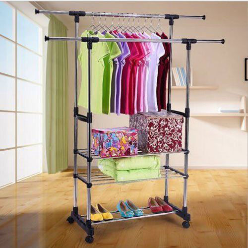 Picture of Portable Rolling Clothes Rack - 3 Tier