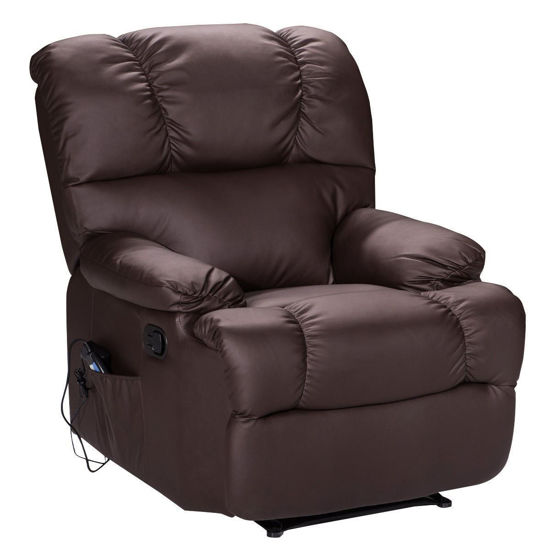 Picture of Recliner Heated Massage Chair With Control Brown