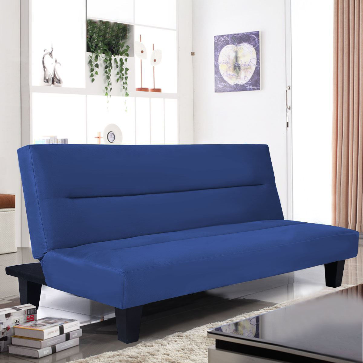 "Picture of Recliner Lounger Microfiber Futon Folding Couch Sofa Bed 6"" Mattress Sleep Blue"