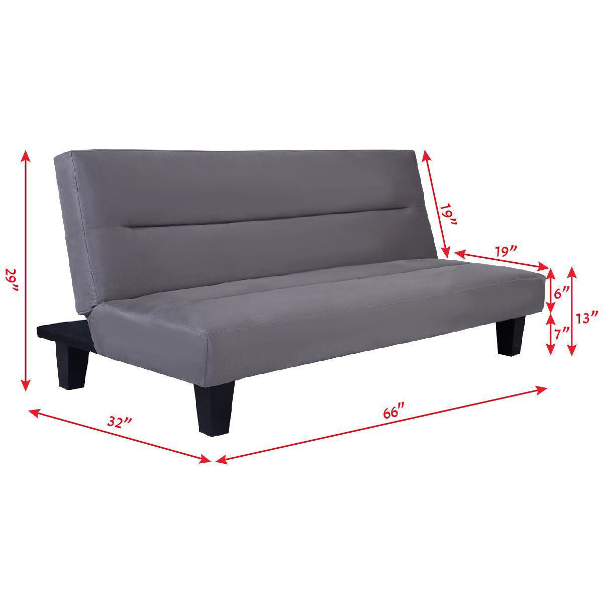 """Picture of Recliner Lounger Microfiber Futon Folding Couch Sofa Bed 6"""" Mattress Sleep Gray"""