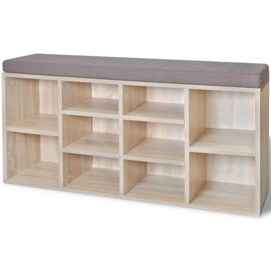 Picture of Shoe Storage Bench 10 Compartments Oak Color